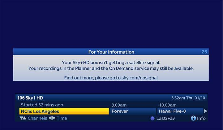"Dish Tv Phone Number >> Why is my Sky+HD box showing a ""No satellite signal"" error message? 