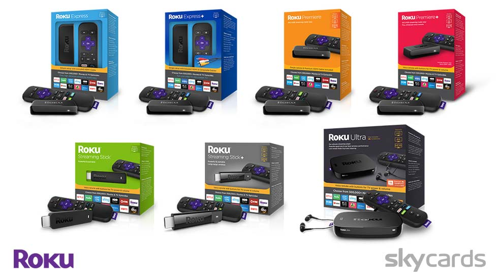 Range of Roku Devices with Packaging