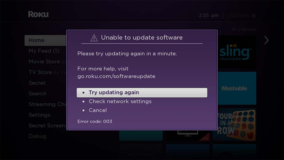 Roku Unable to Update Software