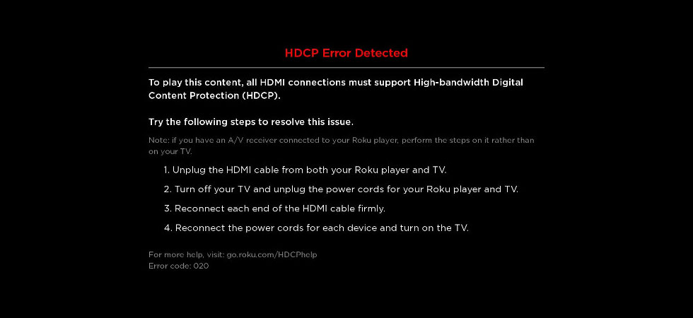 What Does a Roku HDCP Error Detected Message Mean?